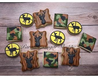 Hunting Camo Decorated MINI Cookies - 3 Dozen MINIS