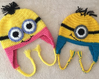 Cute minion crochet hat, Soft minion hat/ beanie with one or two eyes, Yellow minion hat with ear-flaps. Custom sizes & colors available