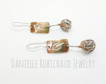 Anew. Handmade hammered copper earrings, wire wrapped, leaf design earrings, dangle earrings, boho earrings, art earrings, Drobichaudjewelry