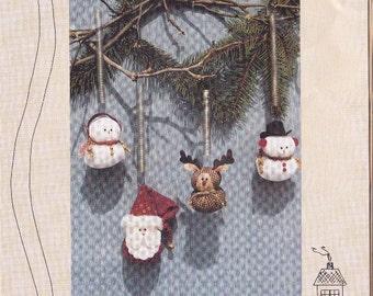 "Santa ~ Snowman ~ Reindeer Down Memory Lane 5"" Christmas Spring Bungee Series Ornaments Pattern DIY Cloth Christmas Theme Decorations Uncut"