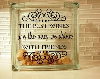 Wine Cork Holder  Glass Block