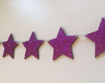 Wooden Glitter Star Garland/Decoration - Magenta