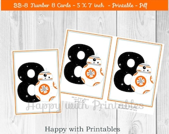 BB-8 Number 8 Cards - BB8 Number Card - Card 5 x 7 inch - Star Wars centerpieces - Age 8 - Star Wars The Force Awakens centerpieces