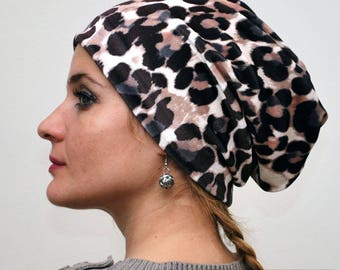 Velvet Slouchy Beanie, Animal Print Hat, Stylish Chemo Hat, Trendy Womens Hat, Lightweight Hat,Headcover,
