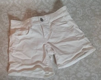 White Stretch Shorts Size 00 Vintage 1990s I White Summer PullOn Tight Short Shorts I Beach Attire Girls