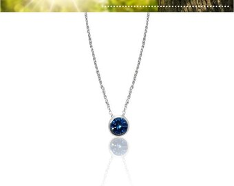 1 Carat Blue Diamond Bezel Pendant in 14K White Gold on 18 Inch Adjustable Chain