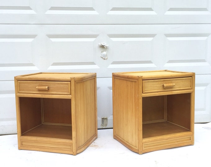 Pair Vintage Bamboo Nightstands