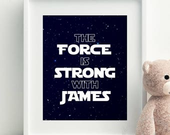 Star Wars Print Personalised with Name / Star Wars Baby Art for Nursery Wall / Personalised Star Wars Nursery Decor Boys Space Bedroom Print