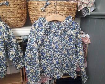 Blouse shirt with collar ruffle liberty betsy Sapphire 3-4-6 years