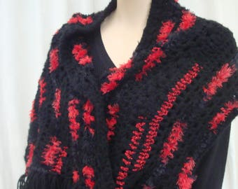 handmade crochet red and black scarf