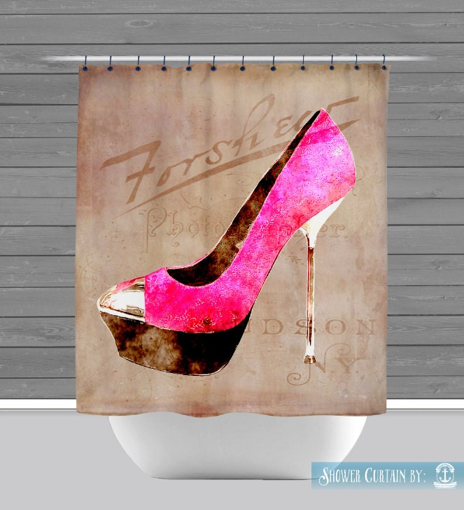 Shower Curtain And More High Heel Shoe Fashion French