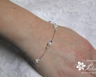 Bracelet de mariage parsemé de perles en cristal et cristal nacré, bijoux de mariées, accessoires - Bridal pearl and crystal bracelet