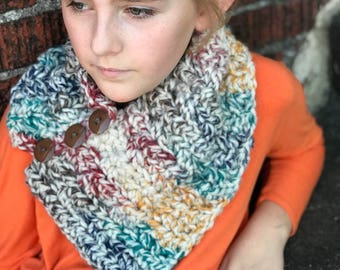 Three Button Cowl, Rainbow Scarf, Triangle Cowl, Kids Triangle Cowl, Rainbow Neck Warmer, Hudson Bay Scarf, Girls Scarf, Valentine's Gift