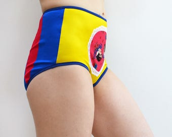 Yellow Princess panties with blue and red back high waist underwear