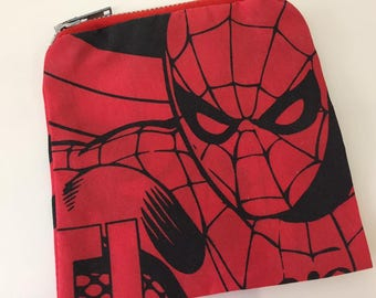 Red & Black Comic Print Spiderman Coin Purse | Zipper Purse | Small Bag | Small Cosmetic Bag | Secret Santa Gift | Stocking Filler
