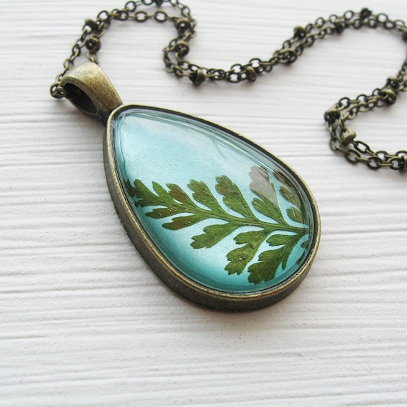 Real Fern Botanical Teardrop Necklace - Green and Teal
