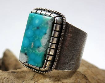 Kingman waterweb Turquoise and Sterling Silver Ring. Turquoise boho ring, Southwestern style ring, square ring, jewelry gift