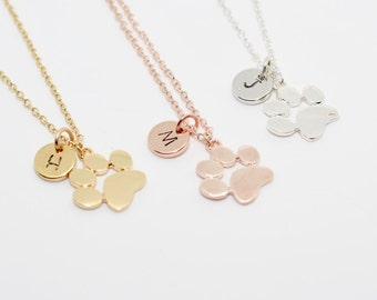 Paw Print Necklace, Dog Lover Jewelry, Cat Lover Jewelry, Personalized, Pet Jewelry, Crazy Cat Lady, Initial Necklace, Dog Mom, Cat Mom
