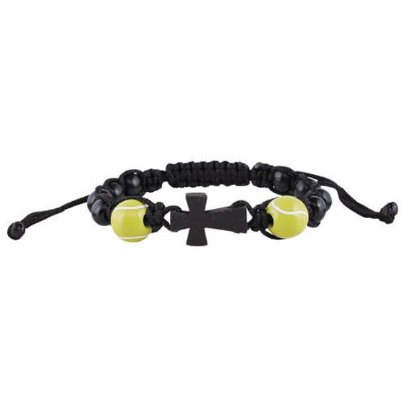 Tennis Rosary Bracelet  Corded wood bead rosary bracelet with 2 wooden tennis ball beads - Sport Rosary Bracelet for Kids and Teens!