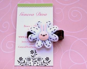 NEW....Funny Bunny Felt Flower Hairclip