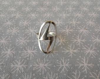Lightning Bolt Silver, Finger Ring (ziggy, flash, thunder, jewelry, brass, electric)