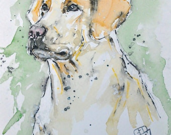 Labrador art original watercolour painting dog art pet portrait