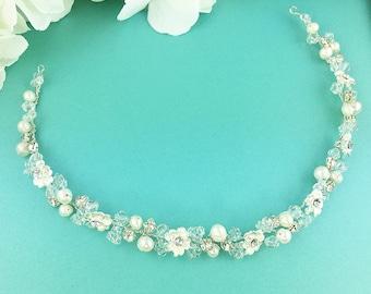 Crystal bridal Hair Vine, pearl ribbon headband, wedding headpiece, flexible vine headband, rhinestone, crystal accessories 281506934