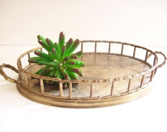 Brass Bamboo Gallery Tray, Faux Bamboo Railing, Hollywood Regency, Vintage Brass Serving Tray, Cocktail Tray, Vanity Tray