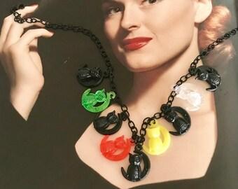 Hand Made Jingle Jangle Charm Necklace with Retro Owls Charms -- Rockabilly -- Pinup -- Cute