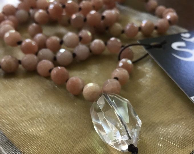 Pre Order | Strawberry Sunstone + Quartz Mala | 108 Bead | Handknotted | Spiritual Junkies |Yoga + Meditation