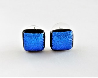 Dichroic Glass Tiny Textured Blue Stud Earrings Intense Blue Textured Glass Dichroic Fused Glass Post Earrings Delicate Dichroic Jewelry