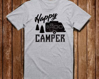 Happy Camper T-Shirt, Camping T-Shirt, Gray T-Shirt, White T-Shirt, Camper T-Shirt, Summer Fun T-Shirt, Gift for Her, Gift for Him