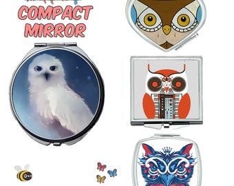 Owl compact mirror, makeup mirror, cosmetic mirror, portable mirror, double sided compact makeup mirror, purse mirror