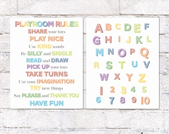 Printable Playroom Rules and ABC Sign Bundle. Rainbow Playroom Wall Decor. Playroom Rules and Alphabet Printable. *INSTANT DOWNLOAD*