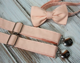 Solid Light Peach Bow Tie and Suspender set ( Men, boys, baby, toddler, infant ) outfit