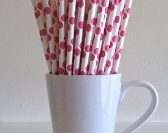 Pink Paper Straws Dark Pink Hot Pink Polka Dot Party Supplies Party Decor Bar Cart Cake Pop Sticks Mason Jar Straws Graduation