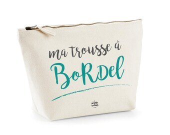 Big toilet bag beauty pouch My messy leather french message Gift for her Travel by decartonetdetoiles