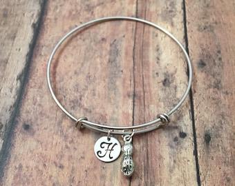 Peanut initial bangle- peanut jewelry, snack food bracelet, baseball game jewelry, goober bracelet, peanut bracelet, food jewelry