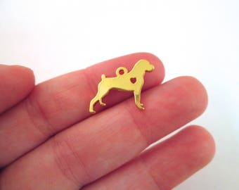 2 Boxer Charms, Gold Plated Dog Charms, Pet Pendant Charms #544