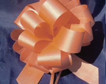 "10 Pull String Bows - Gift Wrap Packaging - 5"" 20 Loops - 1 1/4"" - Orange"