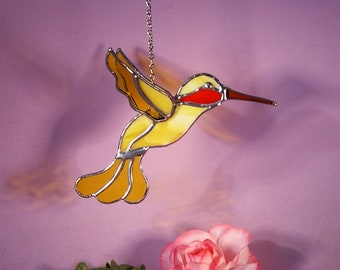 Stained Glass 3D Hummingbird with Ruby Throat  (861)