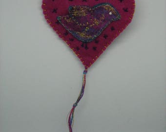 Pink Heart and Bird decoration