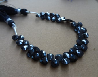 44 pcs- 5 mm Black Spinel Briolette Faceted Hearts Full 6 inch strand-AAA+ Quality