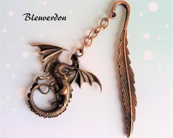 Copper dragon bookmark and its feather