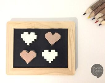 Rose Gold magnets/ Fridge magnets/ board magnets/ Heart/ magnet set/ set of 4/ concrete decor/ office decor/ Housewarming gift