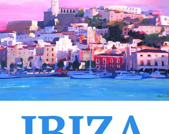 Retro Poster Ibiza Old Town and Harbour - Pear Of the Mediterranean Sea - Fine Art Print