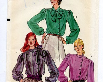 Vintage Vogue 8090 Women's Long Sleeve Secretary Blouse with Pussy Bow and Side Front Close UNCUT Sewing Pattern Size 14 Bust 36