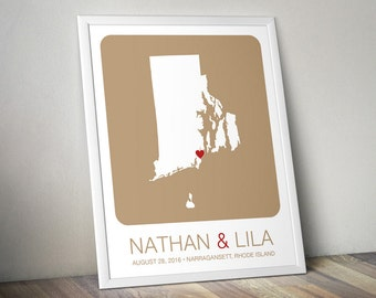 Personalized Wedding Gift : Rhode Island State Map Print - Wedding Guest Book Poster, Engagement Gift, Custom Map