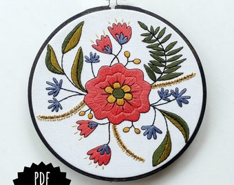 APRIL FLOWERS - pdf embroidery pattern, embroidery hoop art, floral bouquet, may flower, floral stitching, embroidered flowers black outline