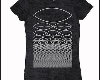Women's TONE WAVE Shirt Sacred Geometry Frequency Pythagoras Burnout Tee